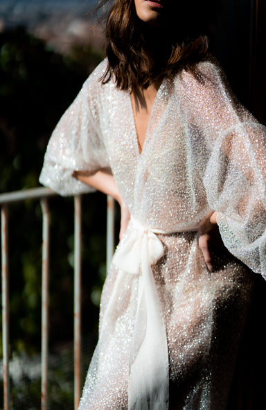 Lennon Short Beaded Bridal Robe - Daphne Newman Design