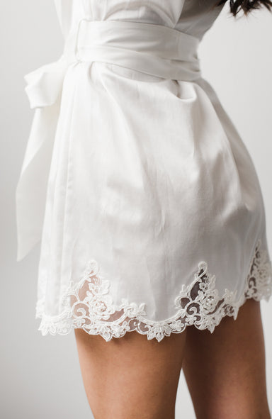 Cara Silk Cotton Short Bridal Robe - Daphne Newman Design