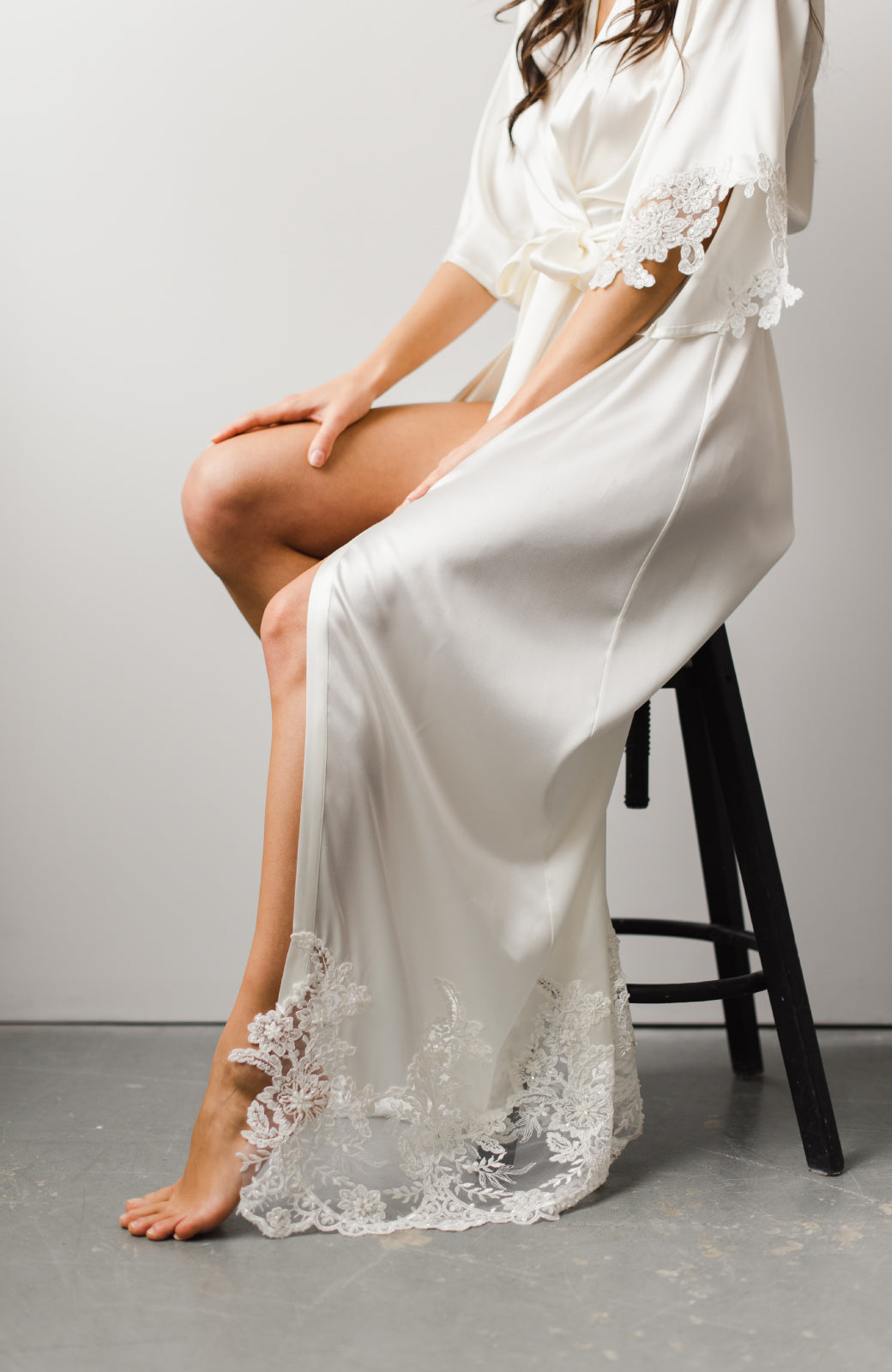 Sophia Long Silk Bridal Robe - Daphne Newman Design