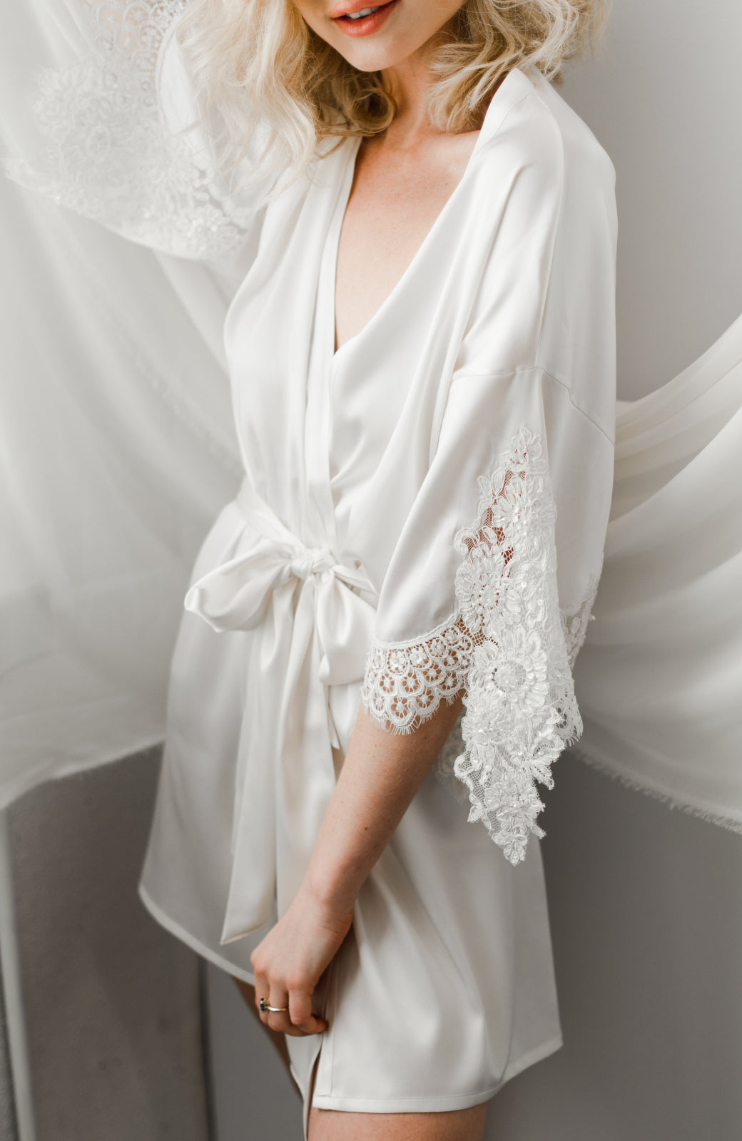 Emily Short Silk Bridal Robe - Daphne Newman Design