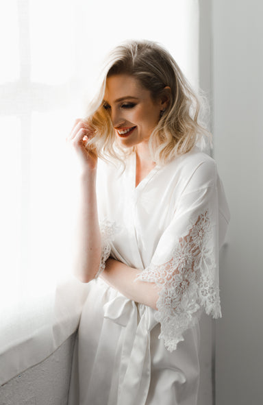 Emily Cotton Short Bridal Robe - Daphne Newman Design