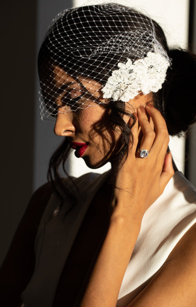Sample Stella Beaded Lace Birdcage Veil - Daphne Newman Design