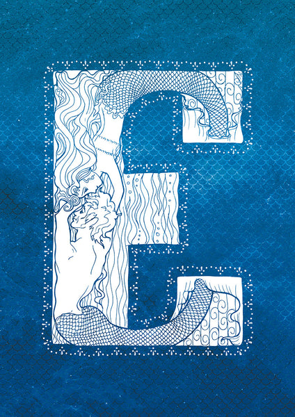 Letter E Mermaid Print
