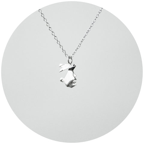 Silver Origami Bunny Necklace