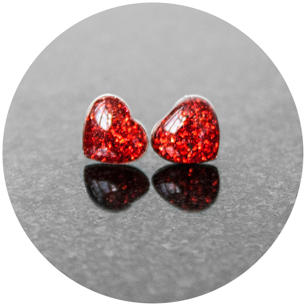 Red Sparkle Heart Earrings