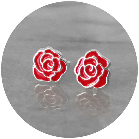 Silver & Enamel Rose Earrings