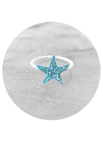 Sterling silver and swarovski crystal mermaid lovers turquiose starfish ring