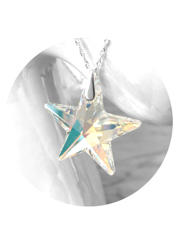 Brilliant sparkly star swarovski crystal sterling silver star necklace