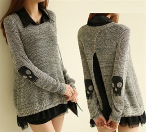 Loose Knitted Skull Sweater