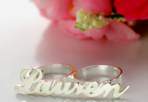 Personalized Two Finger Silver Name Rings
