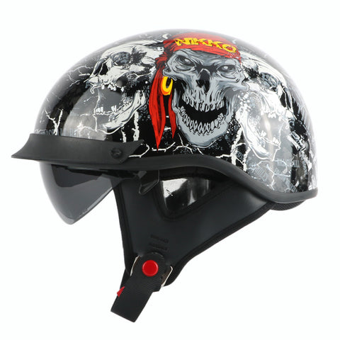 Vintage Half Retro Cool Skull Helmet with Internal visor