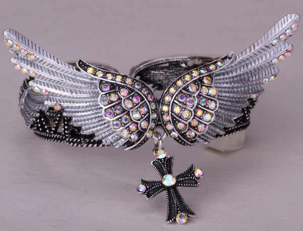 Angel Wings Cross Biker Bracelet
