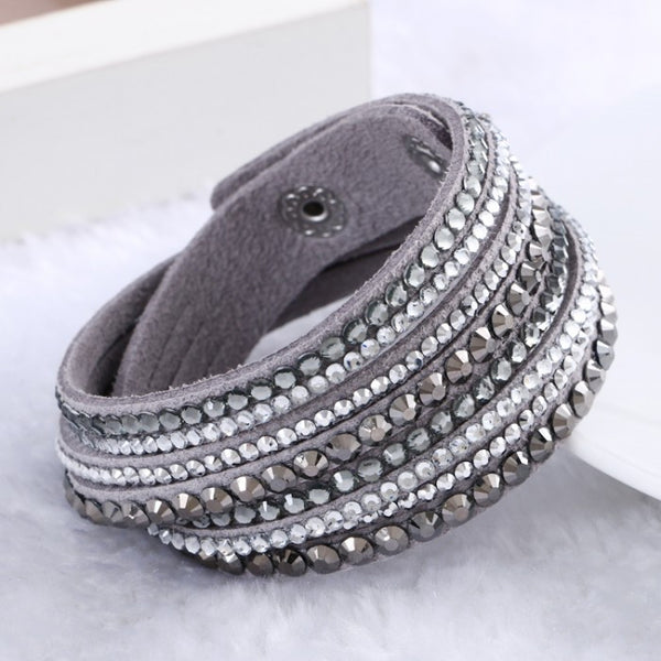 Leather Rhinestone Crystal Inlay Bracelet