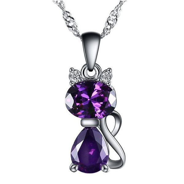 Amethyst Crystal Cat Pendant Necklace