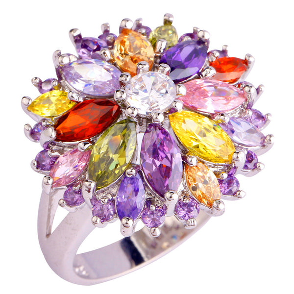 Multi-Color Stone Flower Silver Ring