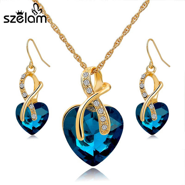 Gold Plated Blue Crystal Heart Jewelry Set