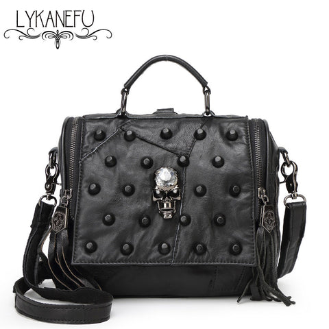 Real Split Leather Messenger Rivet Skull Bags