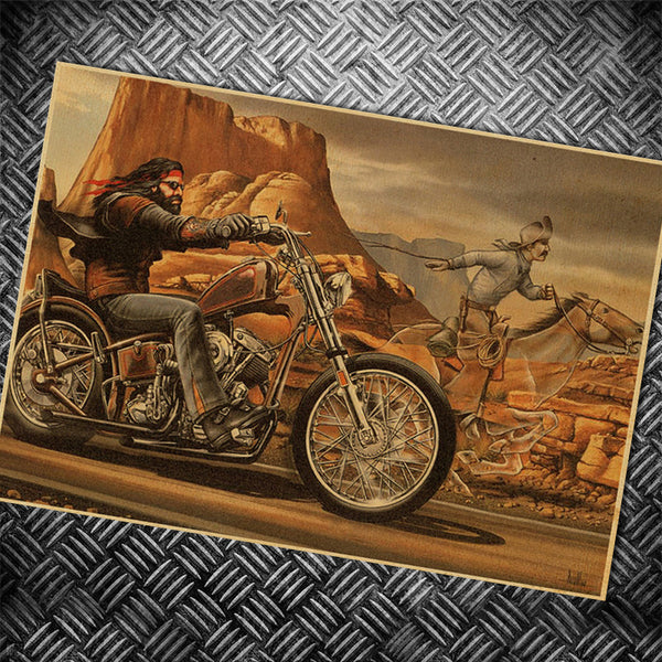 Route 66 motorcycle paper Vintage poster