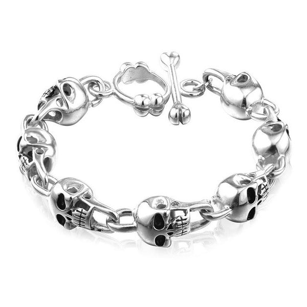 Stainless Steel Skull Bracelet Mens