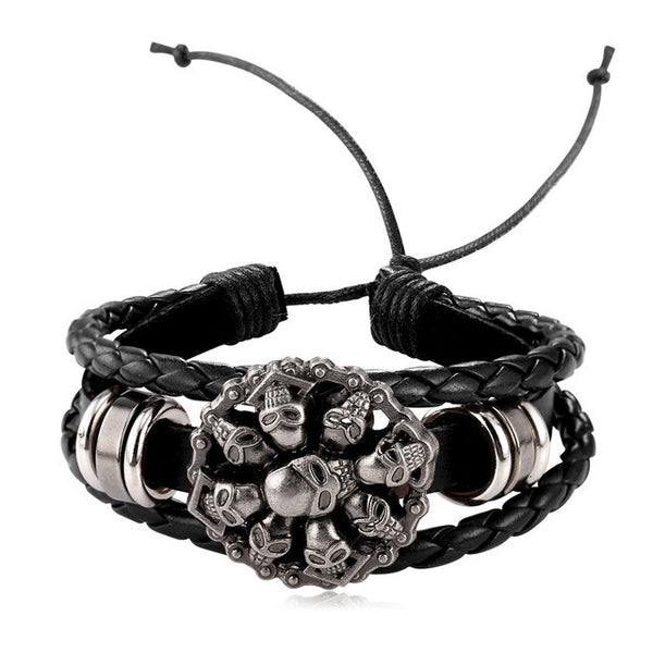 Charm Skull Adjustable  Leather Bracelet