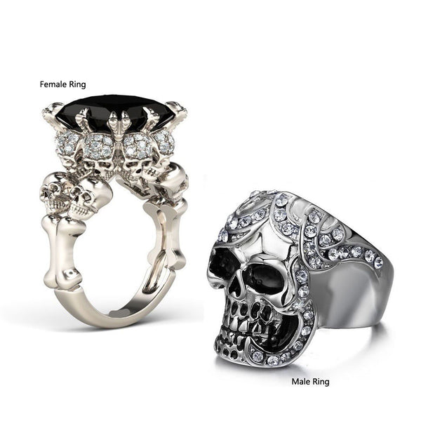 Couple Skull Rings Set White Gold