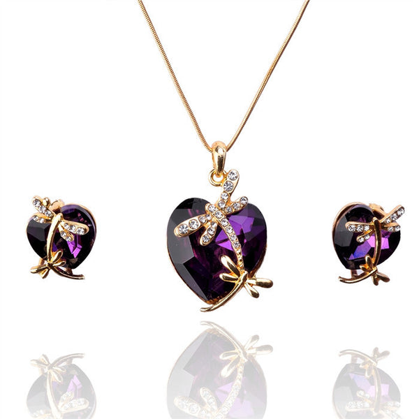 Crystal Heart & Dragonfly Jewelry Set