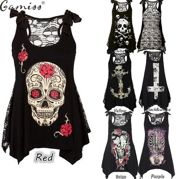 Plus Size Tops 5XL Skull Loose Sleeveless