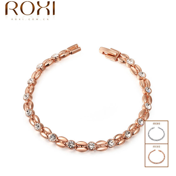 Rose Gold Plated Cubic Zirconia Inlay Bracelet