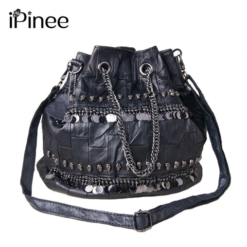 Genuine Leather Sequined And Skull Handbags