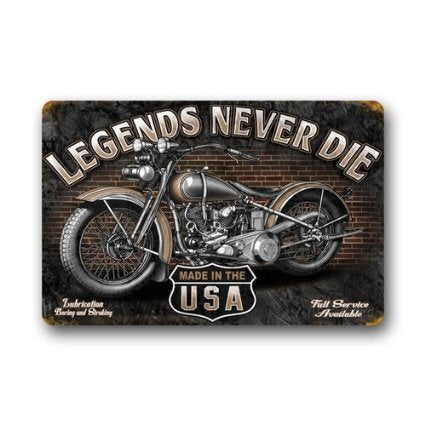 Custom Retro Style Motorcycle Rubber Doormat