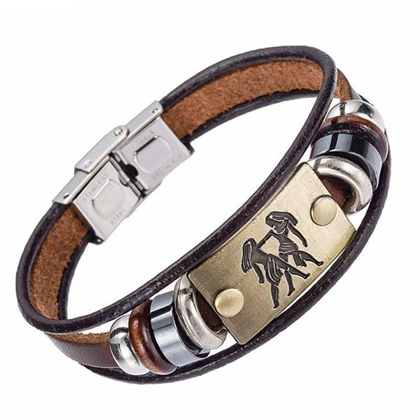 Fashion 12 zodiac signs Bracelet Stainless Steel Clasp Leather Bracelet for Men