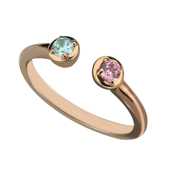 Rose Gold Dual Birthstone Ring