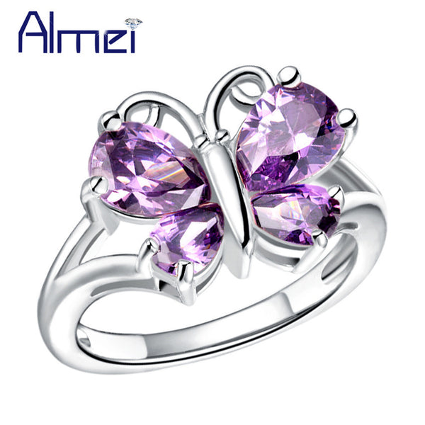 Purple Stone Butterfly Ring