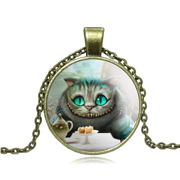 Cheshire Cat Glass Cabochon Pendant Necklace