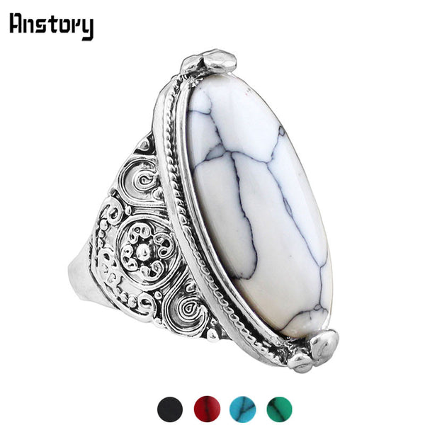 Silver Plated White Oval Stone Ring