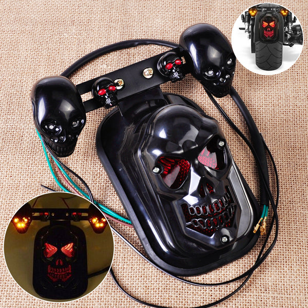 Motorcycle Black Skull Brake Tail Light