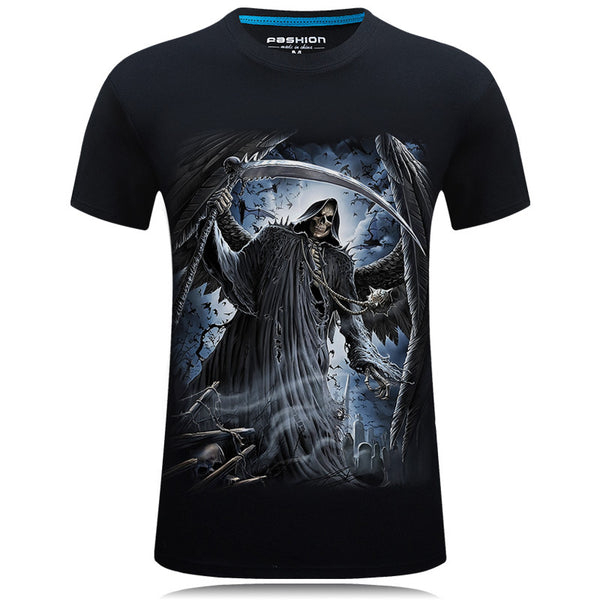 3d Gothic Skull Casual Tee shirt High Quality