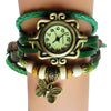 Green Leather Butterfly Charm Watch