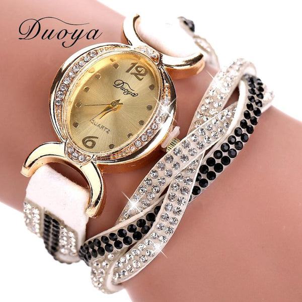 Duoya Crystal Rhinestones Leather Watch