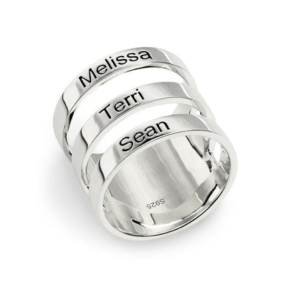 Engraved Three Names Ring -READ DESCRIPTION