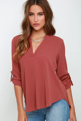 Big Yard Fashion Tops Women V-neck Chiffon Blouse