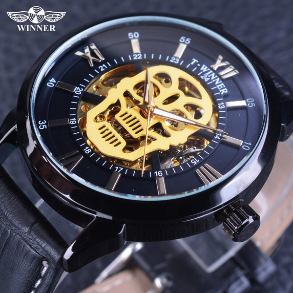 Steampunk Skull Genuine Leather Skeleton Wristwatch