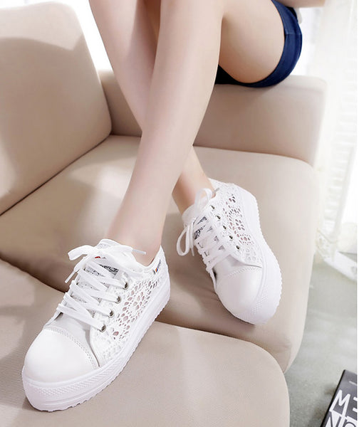 Ladies Fashion Shoes Cutouts Lace Canvas Hollow Breathable Platform Sneakers
