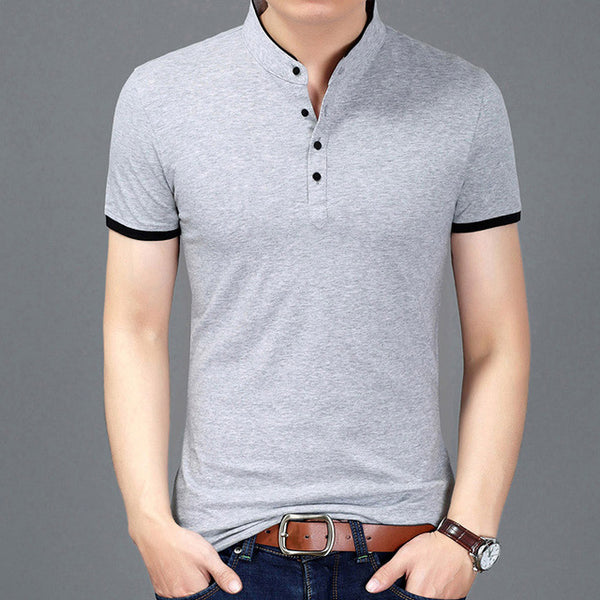 Slim Fit Men Mandarin Collar Casual T-Shirts