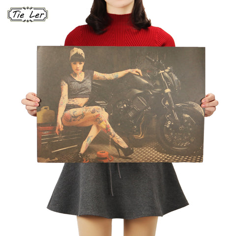 Beauty and Motorcycle Photo Wall Art