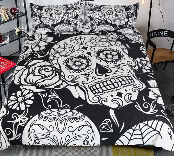 Black and White Sugar Skull Duvet Cover