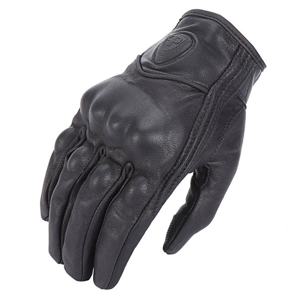 Retro Pursuit Perforated Real Leather Gloves