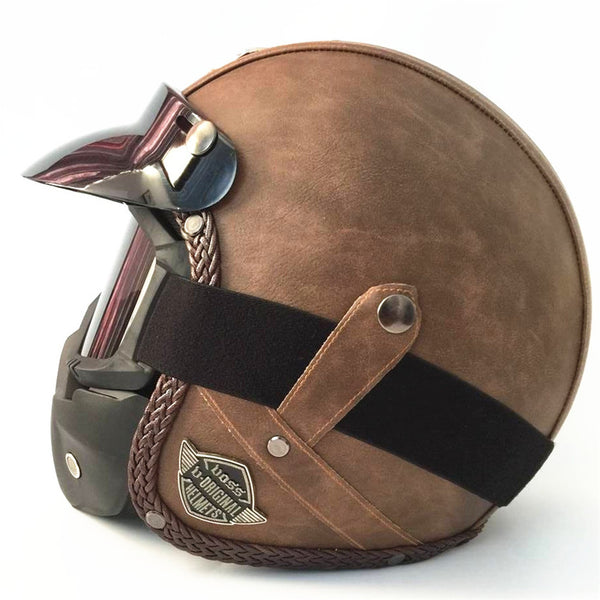 Open Face Half PU Leather Helmet