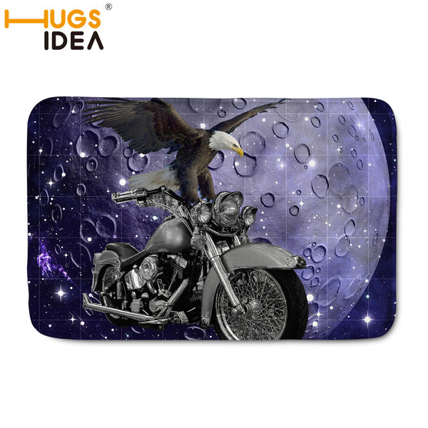 Motorcycle with Eagle Pattern Home Carpet