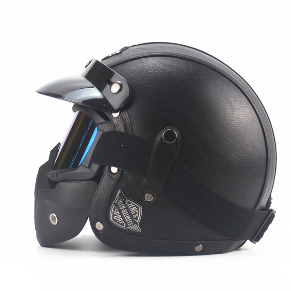 Adult Open Face Half Leather Motorcycle Vintage Helmet